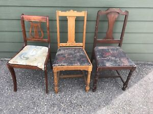 3 antique hardwood dining chairs