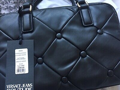 Versace Jeans -Black Leather Quilted Bag BNWT- 100% Genuine. Beautiful. WOW.