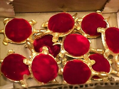 """10 Vintage Turtle Mini Pin Cushions GOLD TONE METAL WITH RED VELVET BACK 2 1/2"""""""