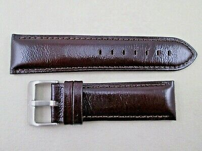 24mm genuine leather watch band dark brown shiny in finish stitched & - Dark Brown Leather Finish