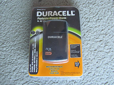 Stigmatize New Duracell Du7131 Portable Power Bank with AC Charger 1,800 mAh