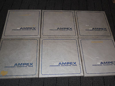 Lot Of Six  Ampex 406 1/4 Reel To Reel Tape Used 10.5 Inch Metal Reel Lot#1
