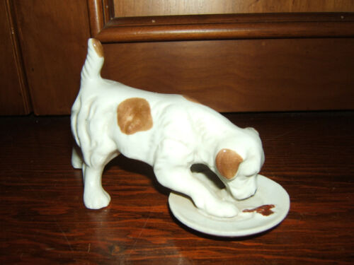 VINTAGE COLLECTIBLE PORCELAIN DOG FIGURINE EATING FROM HIS DINNER PLATE