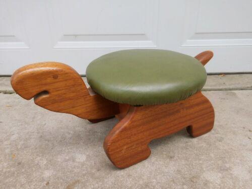 Vintage Mid Century Wood Turtle Footstool Mahogany w Green Padded Vinyl Top