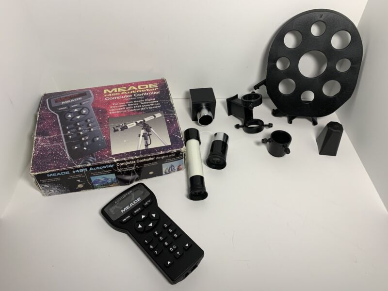 Meade 495 Autostar Controller lot, eyepiece, Accessories With Box