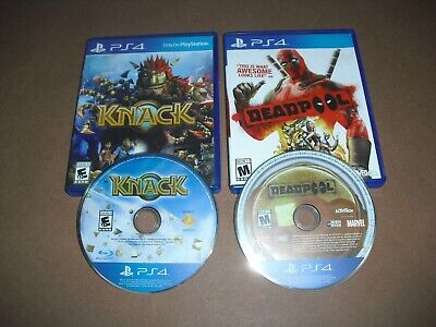 Deadpool & Knack DISC & CASE ONLY & GREAT COND for PS4 Playstation 4!