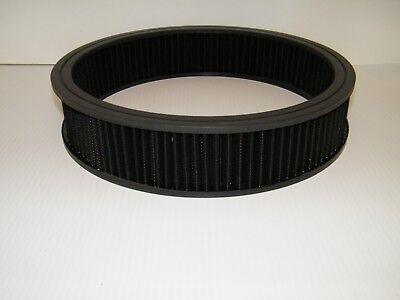 """14"""" x 3"""" Black Washable Air Filter Re-Usable Oiled Filter Holley 4 Barrel"""