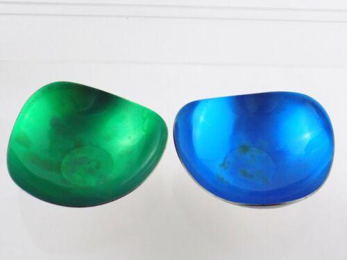 Two Mid Century Meka Denmark Silver Plate Green Blue Enamel Trinket Dishes MCM
