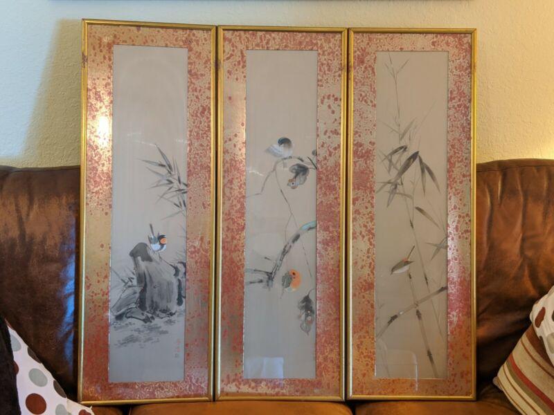 Vintage Chinese/Japanese Silk Scroll Framed KAKEJIKU Birds Bamboo Tree Painting