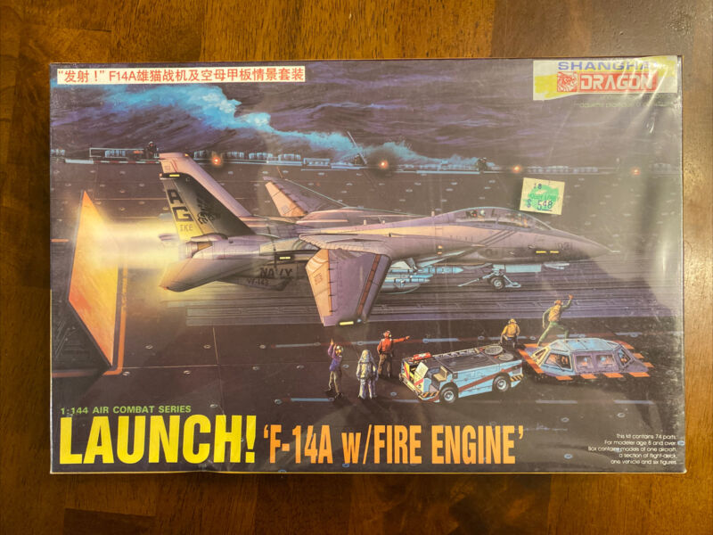 NOS 1991 DML LAUNCH F-14A w/Fire Engine Model Kit Scale 1/144 Box Sealed