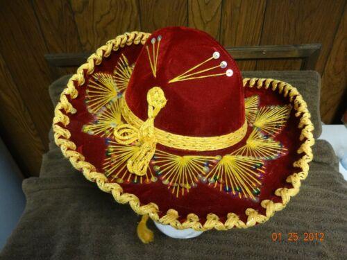 Vintage Mexican Pigalle Sombrero Mariachi Velvet Hat XXXXXXX