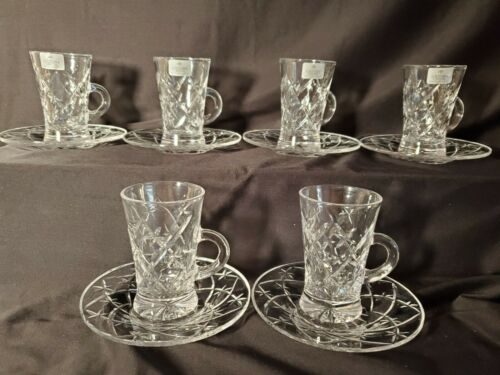 Set of 6 SOLITAIRE CRYSTAL Cut Glass Tea Cup and Saucer