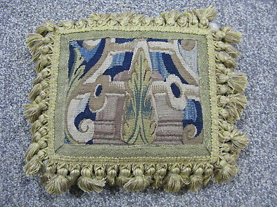 Flemish Tapestry - Vintage pillow 17thC verdure Flemish tapestry hand woven wool and silk 11x9in
