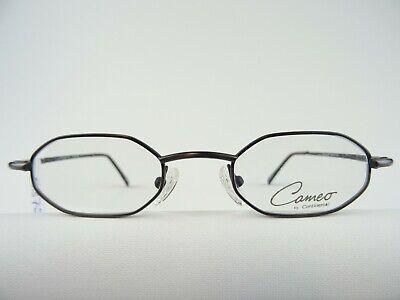 Grau-braune Brille mit kleiner 8-Eck-Form schmale Gläser für kleine Köpfe Gr. S