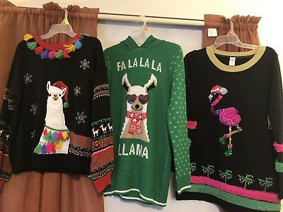 NWT Womens Ugly Christmas Sweaters Flamingo Llama tunic class PICK - Adult Ugly Christmas Sweater