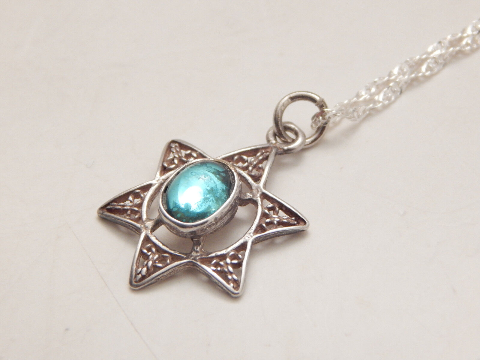 Filigree Sterling Silver Star Of David Pendant Necklace With Teal Stone