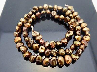 "Freshwater Peals Irregular Baroque Gold Bronze Color 6mm x 5mm Beads Std 15.5"""