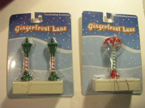 🔵 Gingerfrost Lane ~ Candy Cane Lamp Posts ~ Lot of 2 ~ New in Package