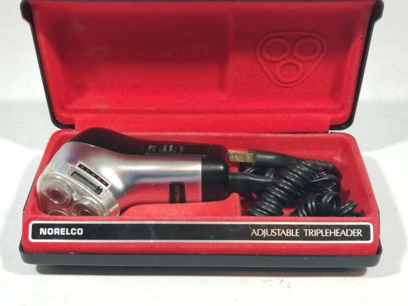 Norelco Adjustable Tripleheader ~ Vintage Electric Shaver Razor ~ Corded