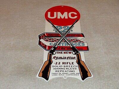 """VINTAGE UMC REMINGTON .22 RIFLE CARTRIDGES 12"""" METAL AMMO, BULLET, SHOTGUN SIGN!"""
