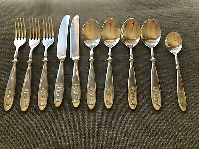 Gibson COKE Engraved Stainless Coca-Cola Silverware Flatware 10-piece -
