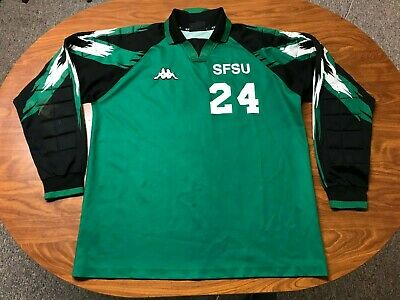 MENS VINTAGE KAPPA GAME USED LONG SLEEVE GREEN GOALIE SOCCER JERSEY SIZE XL