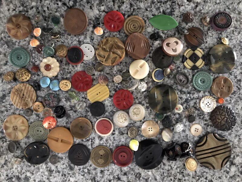 Lot 100+ Victorian Antique MOP Glass Bakelite Composition Vintage Buttons