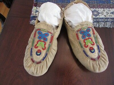 OLD BEADED MOCCASINS (Puckered Style, Woodlands? ) SZ 10.5""