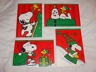 4 Peanuts Snoopy Christmas Cards Sunrise W/ Envelopes - Peanuts Christmas Cards