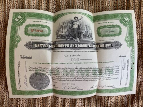 1955 United Merchants & Manufactures Stock Certificate UNCASHED
