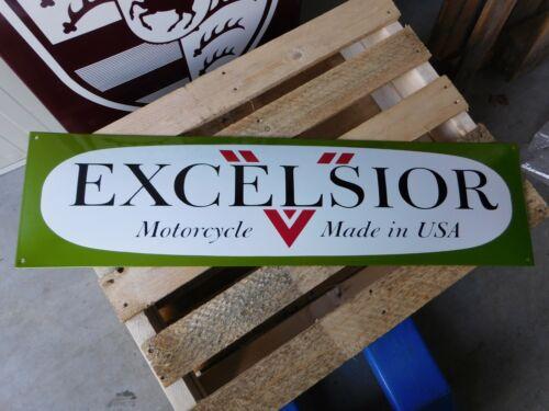 Vintage EXCELSIOR Motorcycles Garage Dealer Sign Porcelain Enamel Logo Shield