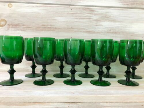 Set of 10 Mid Century Modern Gorham Reizart Water Wine Glasses Tumbler green