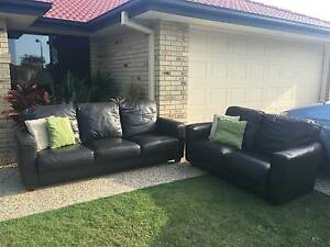 Fantastic Dark Brown Leather Sofa Set - 3 Seater + 2 Seater Meadowbrook Logan Area Preview