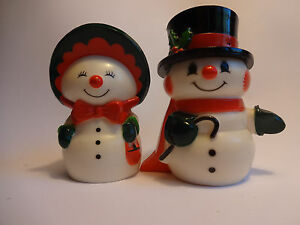 Vintage-Christmas-Holiday-Mr-and-Mrs-Frosty-Snowman-Salt-and-Pepper-Shakers