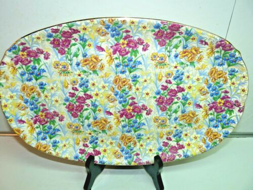 """Erphila Germany Sussex Cheery Chintz Pattern Serving Platter 12 5/8"""" (as is)"""