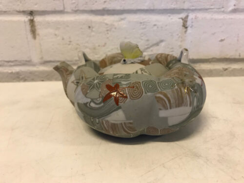 Unusual Antique Japanese Ceramic Teapot w/ Butterfly Finial & Leaf Decoration
