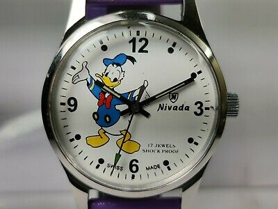 Vintage Nivada Donald Duck Dial Mechanical Hand winding Mens Wrist Watch OG54