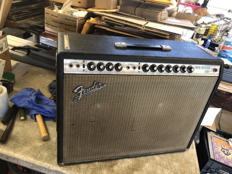 1966 Fender Twin Reverb Silverface guitar Amp Amplifier w/ JBL D120F AB763 RARE