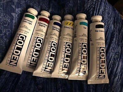 Golden Acrylics 2-ounce Tubes 6 Multi Colors Acrylic Colors 2 Oz Tube