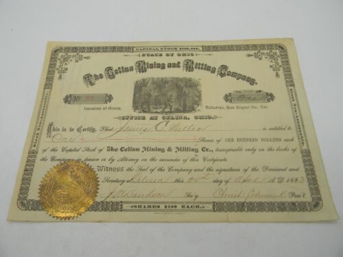 Antique 1883 Celina Mining and Milling Co Stock Certificate OH Telluride CO