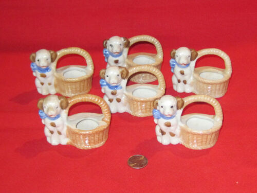 6 vintage porcelain dog figurine toothpick holders marked Japan