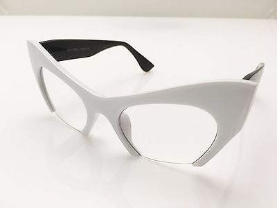Women VINTAGE RETRO 60s CAT EYE Style Clear Lens EYE GLASSES White & Black Frame