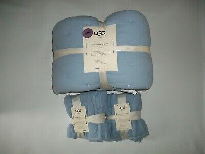 UGG 3 Pc SET Waterfall Blue QUEEN Bedspread QUILT Bed Comfor