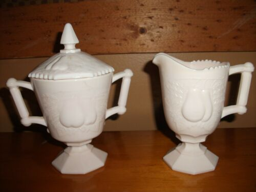 "Vtg. Jeannette ""Baltimore Pear"" Pink Milk Glass Creamer With Lidded Sugar Bowl"