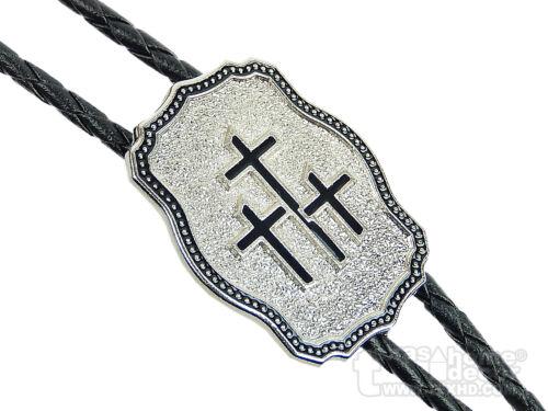 "Triple Crosses Bolo Tie Adjustable 36"" Cord USA Made Western Silver Tone"