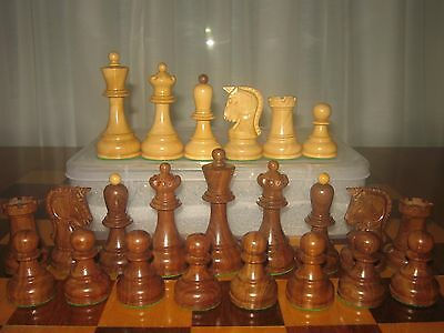 """3.6"""" Dubrovnik Golden Rosewood  Chess Set with Plastic Storage Box  Extra Queens"""