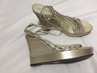 NEW Ralph Lauren Gold Braided Wedge Heels Shoes Sandals 10 M