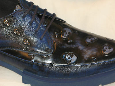JMH Halloween Skull Creeper Oxford Goth Shoes Sz Women 10 Men 8.5 Blue NEW - Halloween Shoes For Women