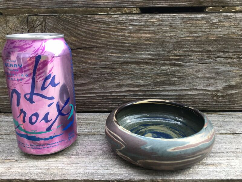 Niloak Bowl With Early Paper Label + Impressed Mark Mission Arts Crafts Era