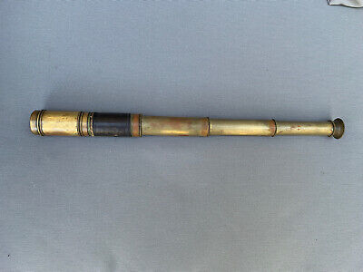 19th Century Antique Naval Or Military Officers Brass Telescope Small Original